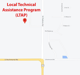 Google Map location for the Local Technical Assistance Program (LTAP) office in Stillwater, OK, where the Oklahoma Pilot Escort Certification Program is housed